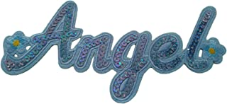 Sequin Angel Iron On Patch Embroidered Word Name Motif Applique Scrapbooking Decal 7.3 x 3.4 inches (18.55 x 8.6 cm)