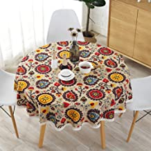 Sandweek Round Tablecloth, Washable Cotton Linen Table Cloth Bohemian Fabric Dust-Proof Table Cover for Buffet Table, Holiday Dinner, Party, Banquet, Wedding Decorations (Round 60 inch)