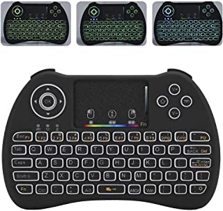 Wireless Keyboard 2.4GHz RF Touch Keypad, 15M Mini Wireless Colorful Backlit Keyboard with Touchpad Mouse for PC, Pad, for Google for Android TV Box for Smart TV, HTPC, IPTV, etc.