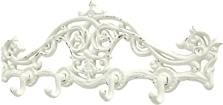 WHW Whole House Worlds French Country Wall Rack, 4 Hooks, Cast Iron, Chippy White Paint, Distressed Vintage Heirloom Style, 15.25 Inches