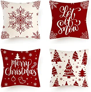 AMZQJD Juego de 4 fundas de cojín de algodón y lino, diseño de Navidad, color rojo 03, 50 x 50 cm