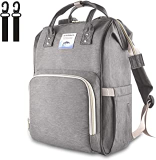 MAIDALL Diaper Bag for Baby, Baby Diaper Backpack, Multi-Function Travel Diaper Bags Nappy Backpack, Maternity Baby Changing Bags, Large Capacity, Waterproof Stylish & Durable, Grey