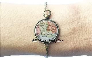 Charming Bracelet,Louisiana map Bracelets, Louisiana map Bracelet Louisiana Bracelets Louisiana state map jewelry,AO235