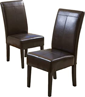 Best Selling Chocolate Brown T-Stitch Leather Dining Chair, 2-Pack (Renewed)