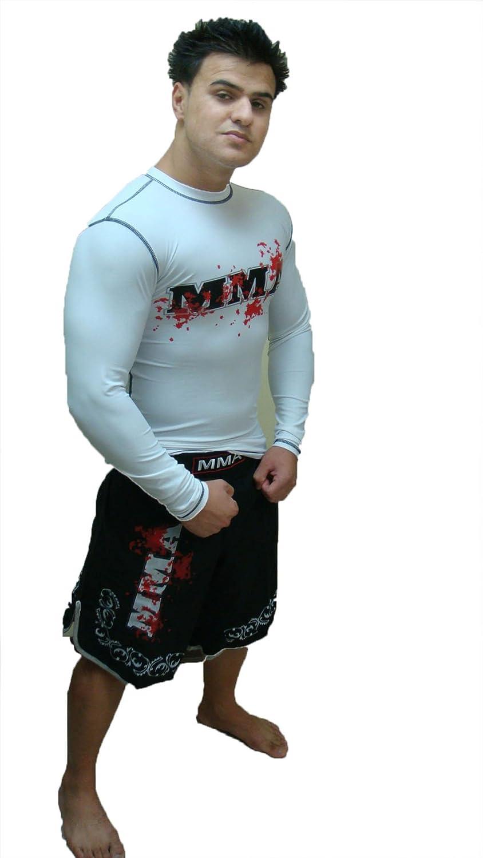 Woldorf USA Rash Guard White Full Sleeve Size XL MMA Logo Sparring Fitness Rash Guards Grappling, Kickboxing Rash Guards, Fighting, Muay Thai Training Rash Guards
