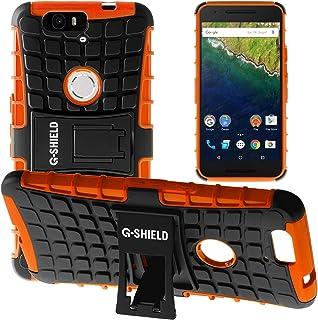 G-Shield Funda para Huawei Google Nexus 6P, Carcasa Protectora Anti-Arañazos con Soporte, Naranja