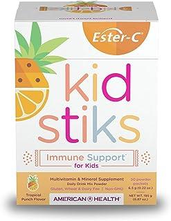 American Health Ester-C Kidstiks Powder Packets, Tropical Punch, 30 Packets - 250 mg Ester-C Vitamin C - Immune & Upper Re...