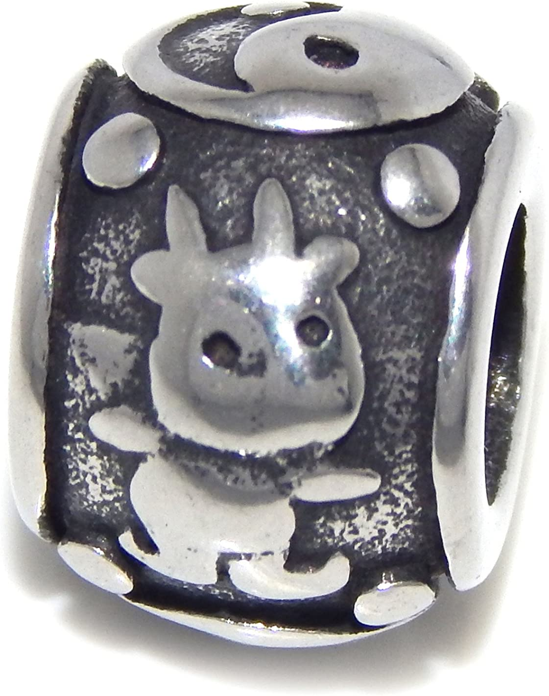 ICYROSE Stainless Steel Chinese Goat Zodiac Sign Spacer Charm Bead for European Snake Chain Bracelets