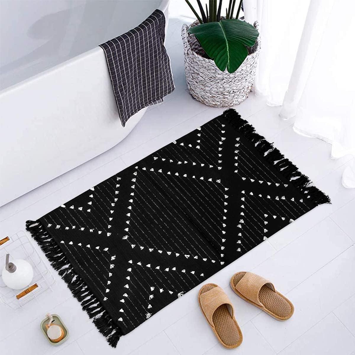 LIVEBOX Boho Bathroom Rug 20' x 20' Washable Small Black Area Rug Moroccan  Kitchen Cotton Woven Rug with Tassel Throw Rug for Hallway Bedroom Laundry  ...