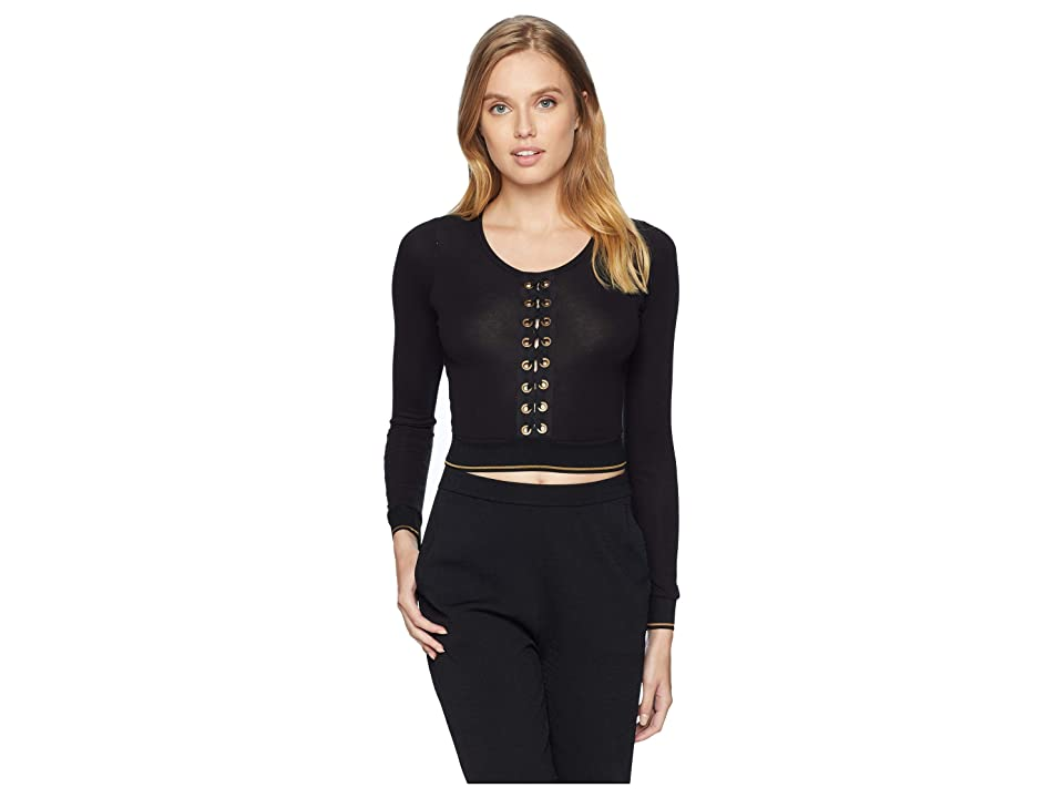 ELSE Urban Lace-Up Long Sleeved Cropped Top (Black) Women