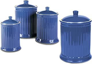 OmniWare Simsbury Blue Stoneware Canister, Set of 4