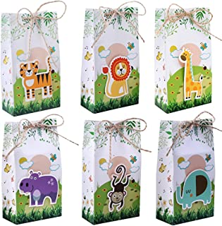 Aparty4u 12Pcs Jungle Theme Party Favor Bags Safari Animal Gift Bags, Zoo Goodie Candy Treat Boxes for Jungle Theme Birthday Baby Shower Supplies