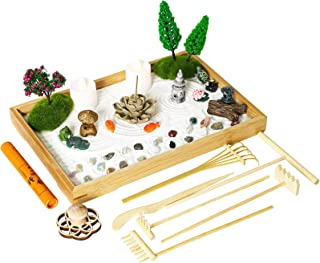 Miniature Japanese Zen Garden Kit - Mini Chakra Crystal Quartz Rock Sand Garden Sandbox Desktop Meditation Altar Zen Decor...