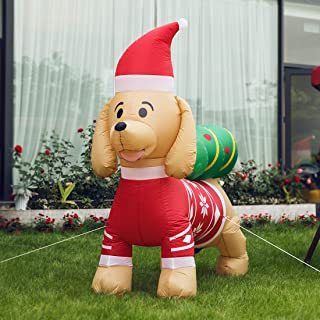 VIVOHOME 7ft Long Christmas Inflatable LED Lighted Dog with Hat and Tree Blow up Outdoor Yard Decoration
