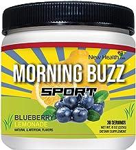 Morning Buzz Sports Drink Mix Mix by New Health، Pre Workout، Sports Nutrition نوشیدنی ، پشتیبانی از انرژی ماندگار ، استقامت ، شفافیت ذهنی و متابولیسم ، 8 اونس پودر مخلوط ، 30 وعده (زرد)