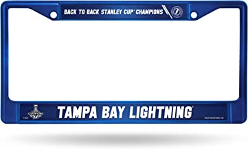 Rico Industries NHL Tampa Bay Lightning 2021 Stanley Cup Champions Team Color Standard Chrome License Plate Frame