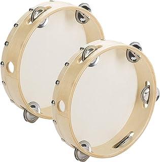 "Tosnail 2 Pack 8 ""Wood Handborld Tambourine - Single Row 5 Pair Jingles"