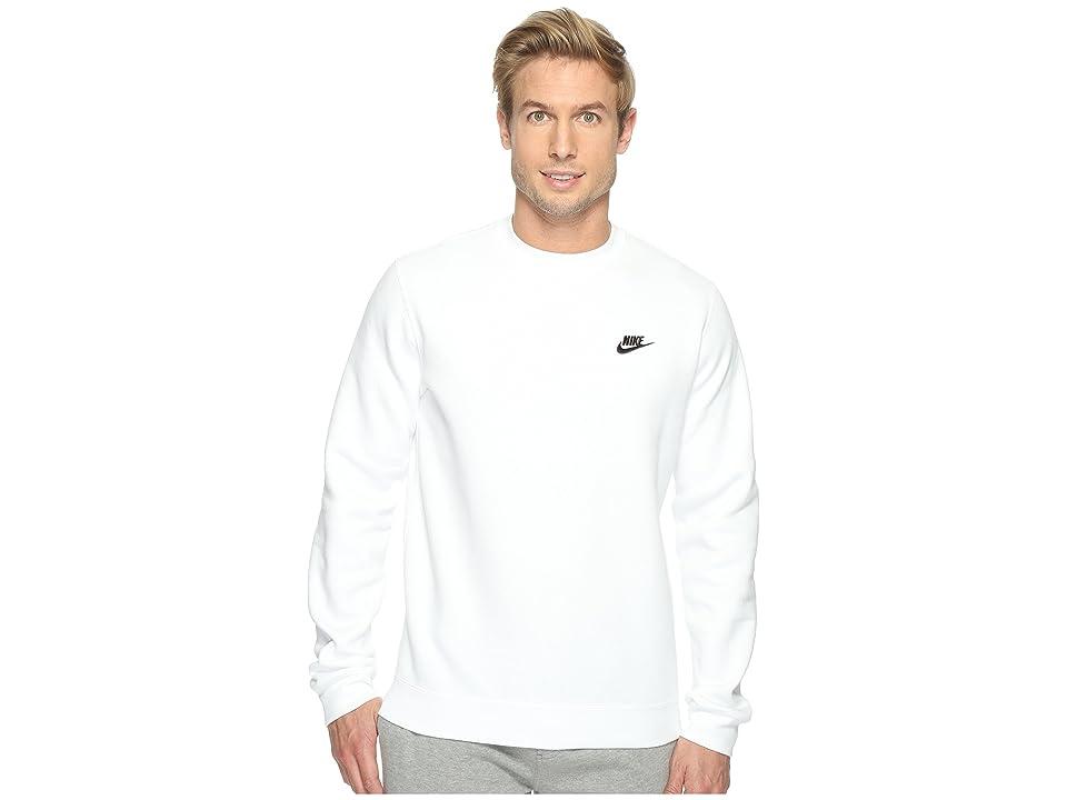 Nike Club Fleece Pullover Crew (White/Black) Men