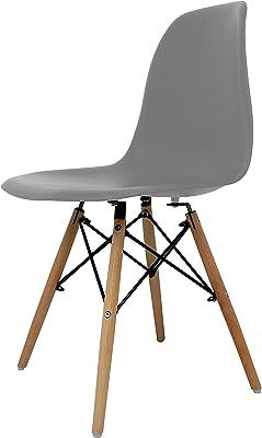 La Silla Española - modelo Laredo - silla de estilo nórdico - asiento en simil y patas en madera - gris - 47x42x83cm - 1 unidad