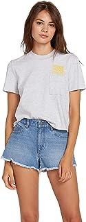 سروال جينز نسائي Volcom جونيور متوسط الارتفاع وبحاشية خام من قماش الدنيم قصير