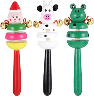Tomaibaby 3Pcs Baby Wood Rattle Bells Animal Hand Bells Toys Baby Jingle Stick Bells for Kids Children Music Educational S...