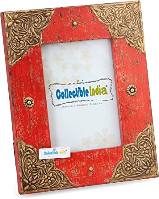"Collectible India Antique Design Table Photo Frame Decorative with Corner Brass Fitted 10.5""X8.5"""
