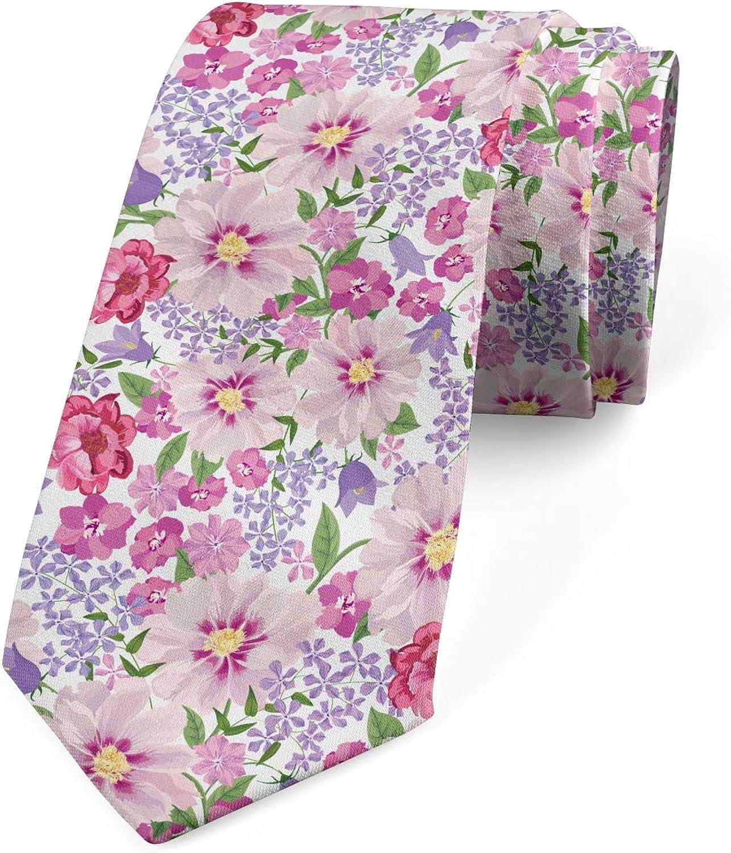 Ambesonne Necktie, Fresh Spring Flora, Dress Tie, 3.7