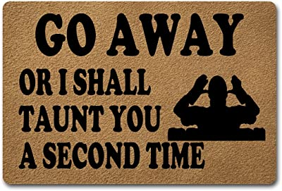 Funny Welcome Entrance Floor Rug (15.7 x 23.7 inch ) Go Away Or I Shall Taunt You A Second Time Monty Python and The Holy Grail Doormat for Entrance Way Novelty Mats Indoor Decor Mats Kitchen Rugs