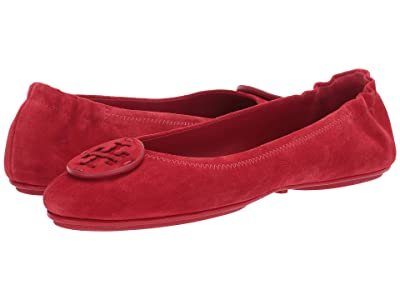 Tory Burch Minnie Travel Ballet with Leather Logo (Ruby Red/Ruby Red) Women