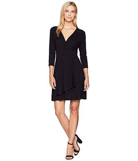 Karen Kane  FAUX WRAP DRAPE DRESS, BLACK
