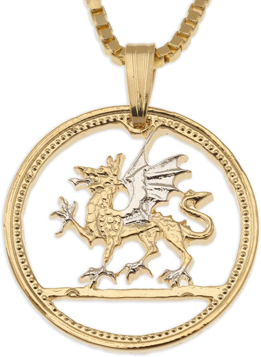 Welsh Coin Pendant & Necklace Hand Cut Welsh Coin