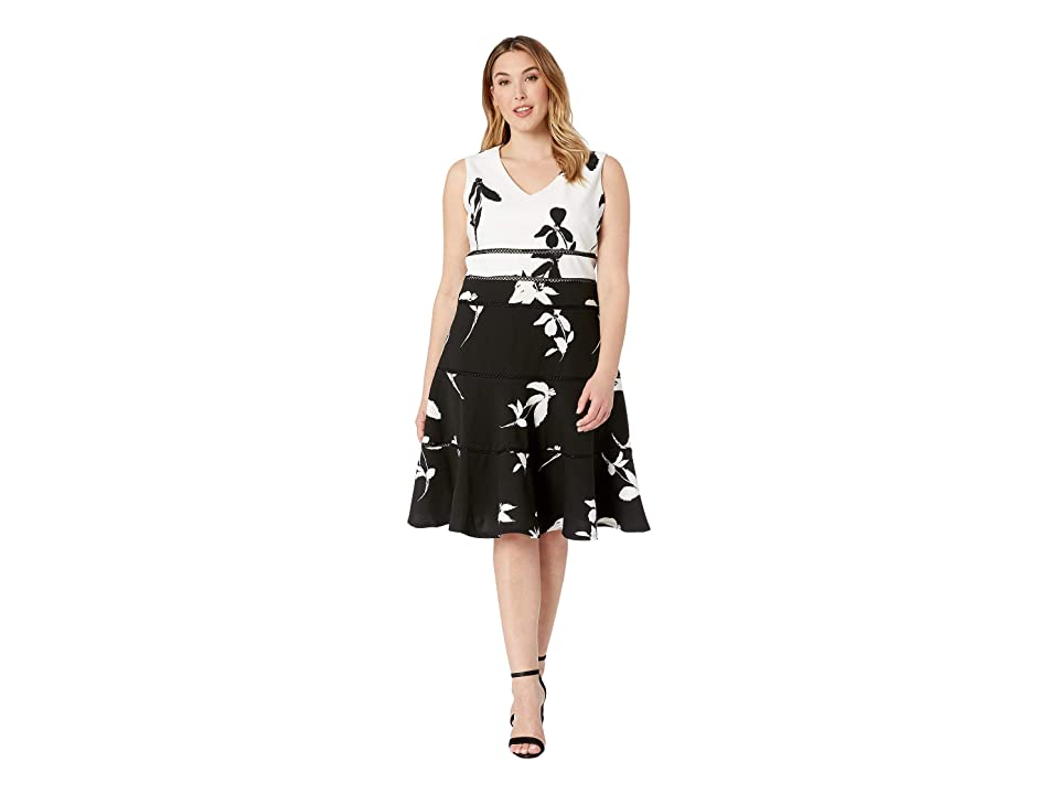 Taylor Plus Size Sleeveless Color Block A-Line Dress (Ivory/Black) Women