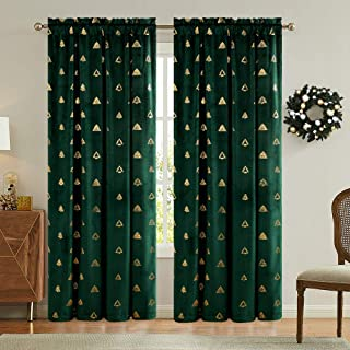 jinchan Green Curtains Velvet Drapes Tree-Shaped Bronzing Pattern On It Bedroom Window Curtains 95 Inch Long Living Room Rod Pocket Window Treatment Set 2 Panels(Green, Tree, 95