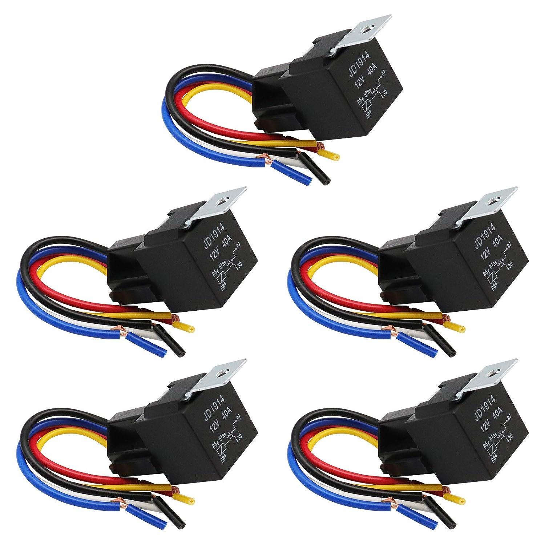 RUIZHI 5Pcs 12V 40A Relé de Coche 5 Pin Terminal Relay Harness Conector Set con Zócalo & Color Arnés para Vehículo Camión Moto Barco