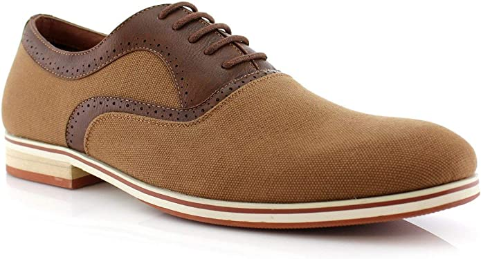 1930s Men's Shoe Styles, Art Deco Era Footwear Ferro Aldo Garrett MFA19623L Men's Classic Vegan Leather Lace-Up Oxford Formal Dress Shoes  AT vintagedancer.com