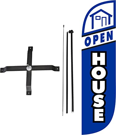 LookOurWay Open House Feather Flag Complete Set with Poles & X-Stand,  5-Feet