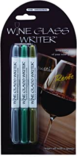 Wine Glass Writer Markers Original Metallic | Washable Glass Wine Charms Alternative - Pack of 3 Gold/Silver/Emerald