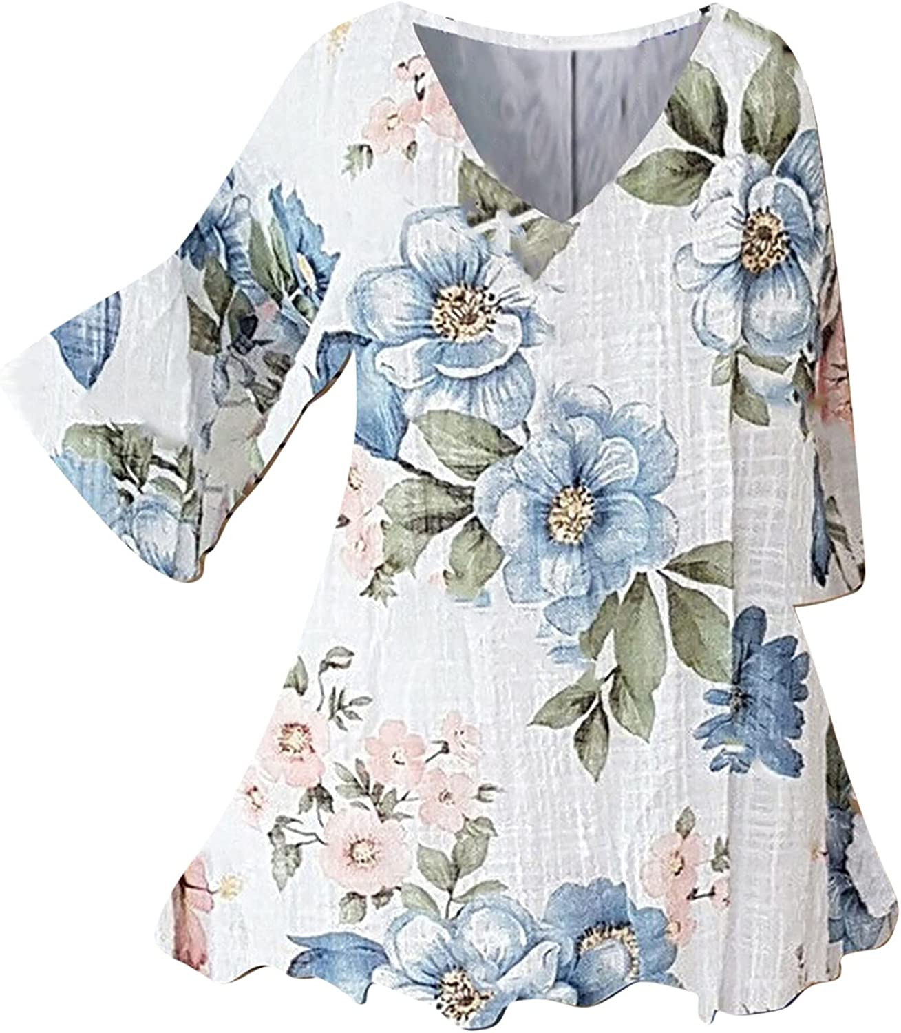 Kanzd Linen Tops for Women Casual Loose Fashion Button Down Long Sleeve Cute Floral Linen Shirts Tee Top Blouse Tunic