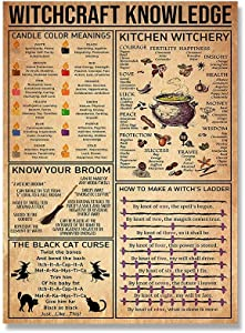 Witchcraft Knowledge Witch for Vintage Poster Metal Tin Signs Iron Painting Plaque Wall Decor Bar Cat Club Novelty Funny Bathroom Kitchen Toilet Paper Retro Parlor Cafe Store 8x12 Inch