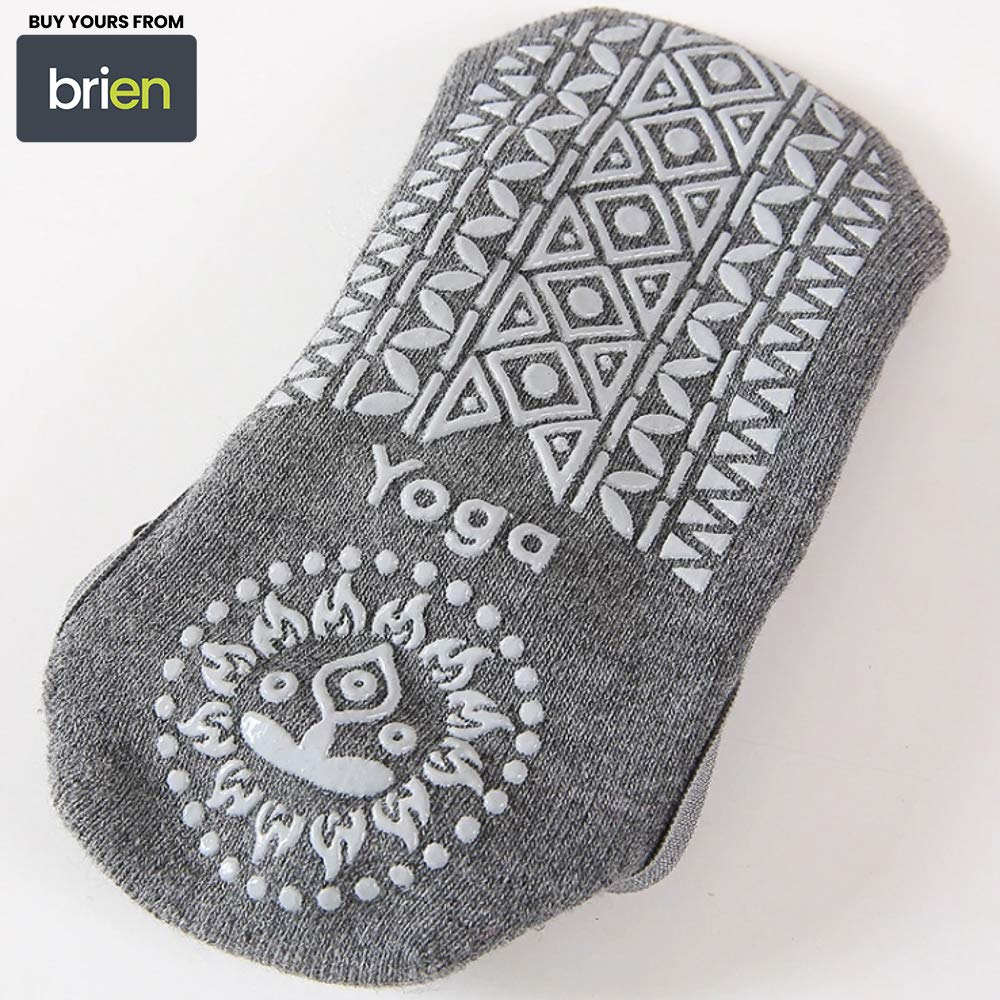 Brien Yoga Socks for Women Non-Slip Grips & Straps with Carrying Pouch, One Size, Ideal for Pilates, Pure Barre, Ballet, Dance, Barefoot Workout