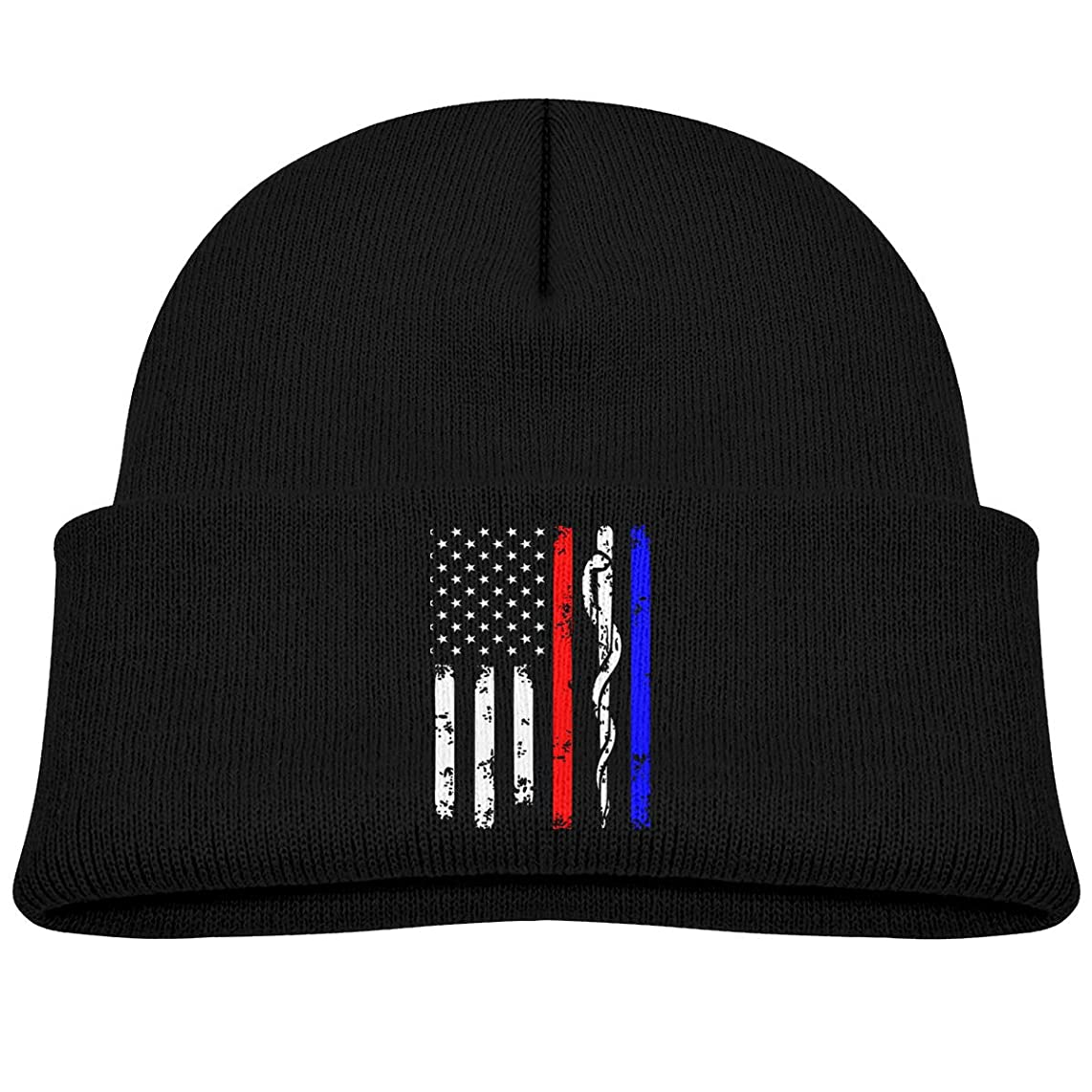 SDWYD Police & Firefighter & EMT Flag Baby Boy Girl Toddler Kids Knitted Hat Cap