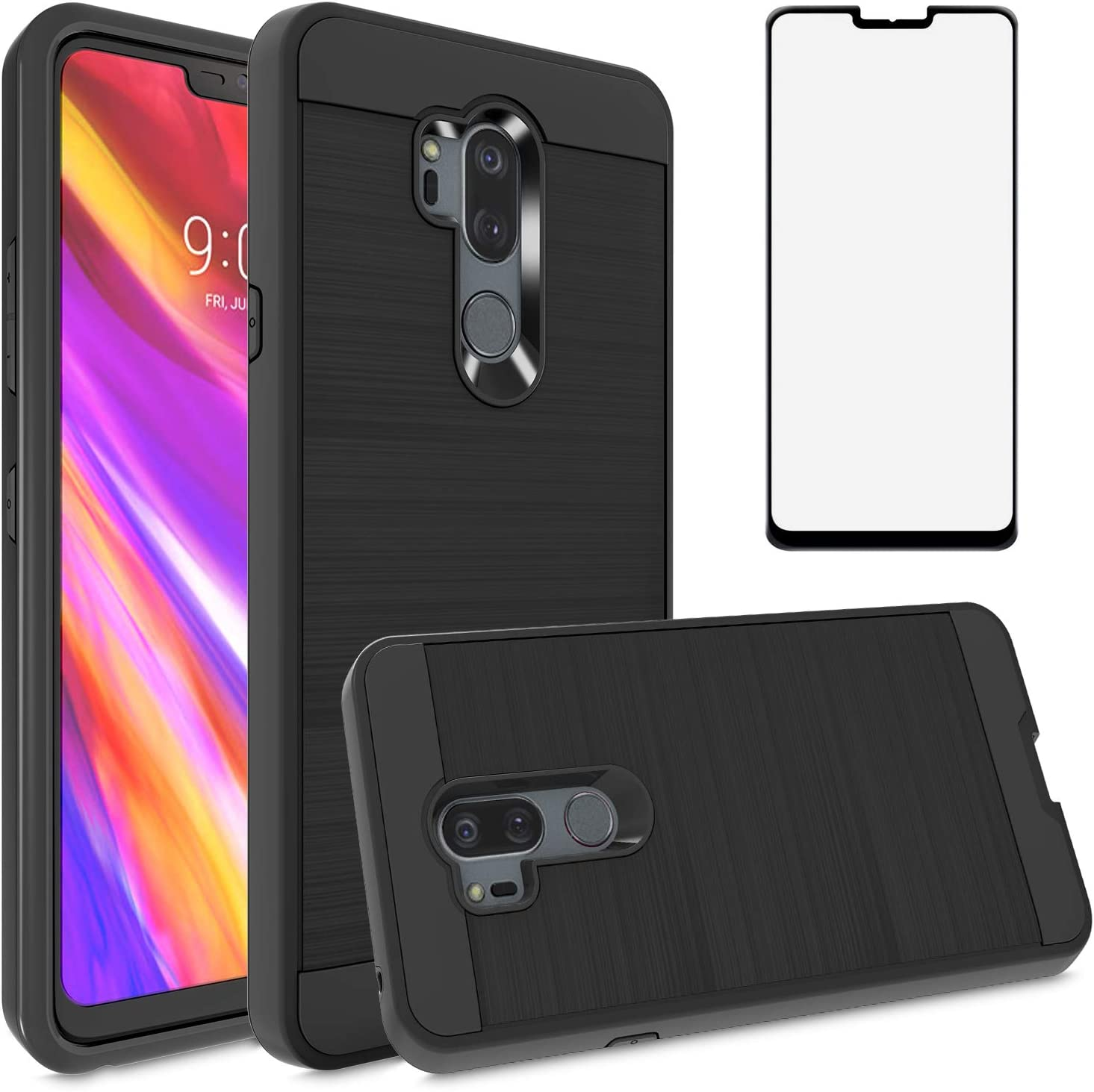 Asuwish Compatible with LG G7 ThinQ Phone Case Tempered Glass Screen Protector Cover Grip Slim Shockproof Protective Cell for LGG7 One G 7 Plus LG7 Fit LG7ThinQ 7G Thin Q G7+ G7thinq LGG7thinq Black