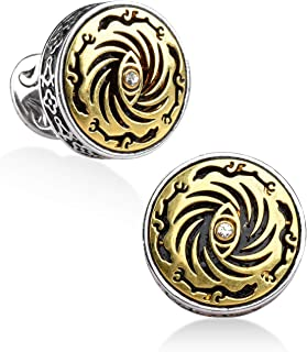silver clover 18K Gold Plated Eye of Sun Cufflinks for Tuxedo Shirt Best Gifts for Men, Wedding, Business, with Luxury Woo...
