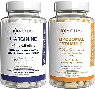 Max Strength Nitric Oxide Booster Bundle – L-Arginine & Liposomal Vitamin C, with L Citrulline, Ascorbyl Palmitate, Natura...