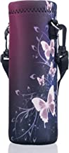 AUPET Water Bottle Carrier,Red Butterfly 500ML Water Sport Bottle Cover Pouch Insulated Soft Sleeve Holder Case +Shoulder ...
