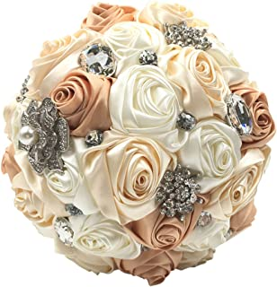 Abbie Home Silk Bridal Bouquet with Crystal Rhinestones Ivory Rose Wedding Flowers (Champagne)