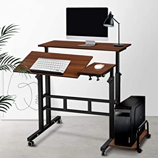 Mobile Portable Laptop Desk Computer Office Stand Workstation Adjustable Table Dark Wood Grain