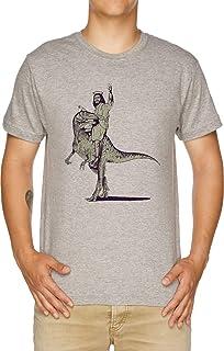 Vendax Gesù Equitazione Dinosauro T-Shirt Uomo Grigio