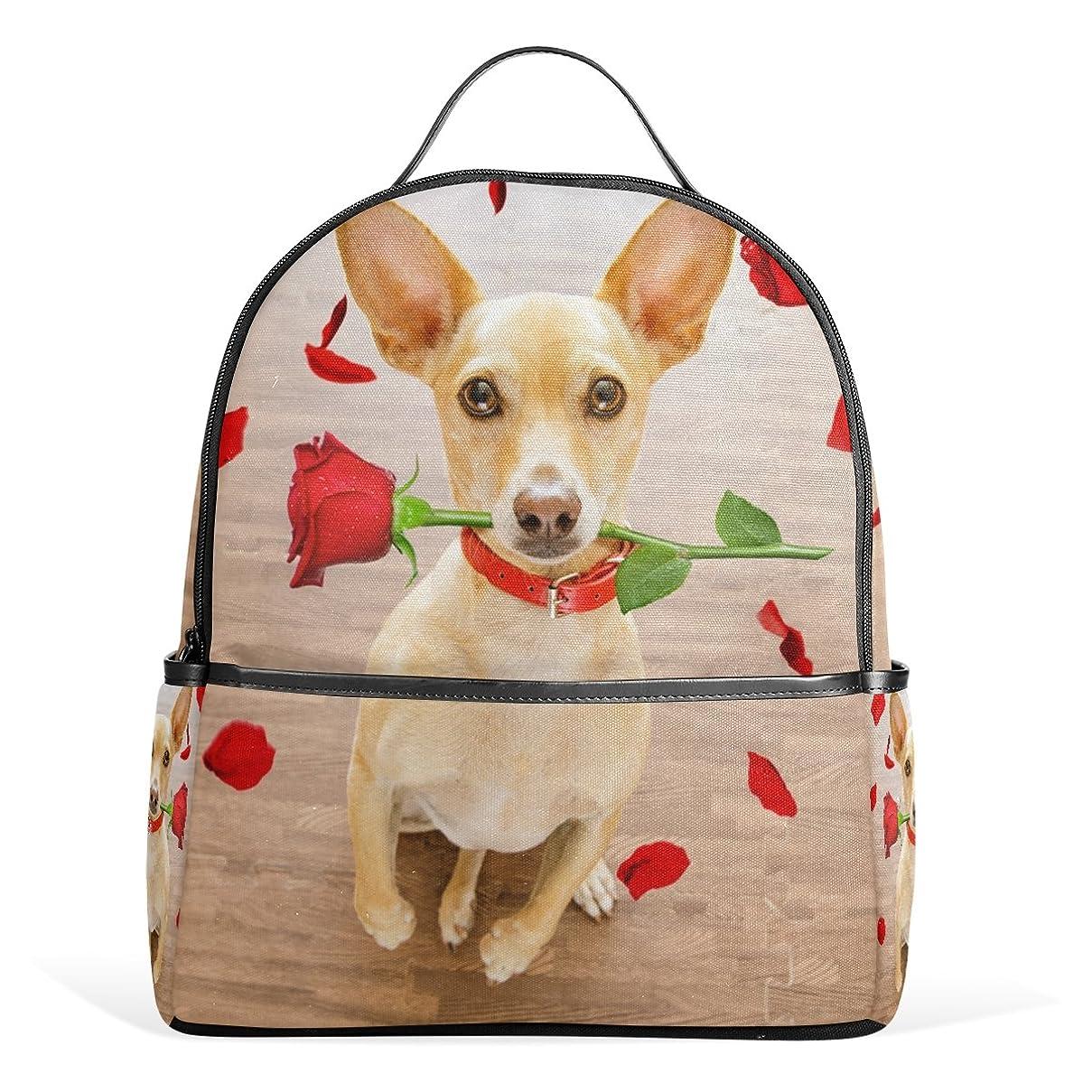 規定ペナルティ悪性のAOMOKI リュック リュックサック バッグ 男女 兼用 メンズ レディース 通勤 通学 大容量 学生 プロポーズ 可愛い犬 バラ柄