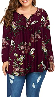 Women's Plus Size Long Sleeve Henley V Neck Button up Tunic Tops